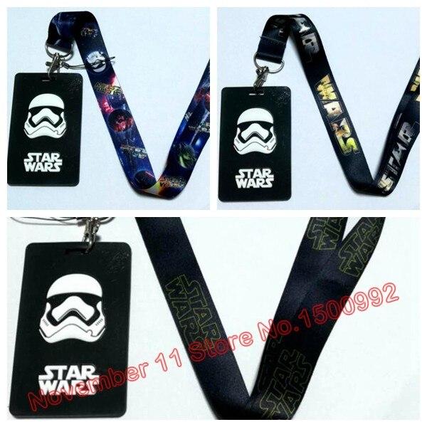 1Pcs Cartoon Star Wars Lanyard Key Chains Card Holders Bank Card Neck Strap Card Bus ID Holders  QW-626