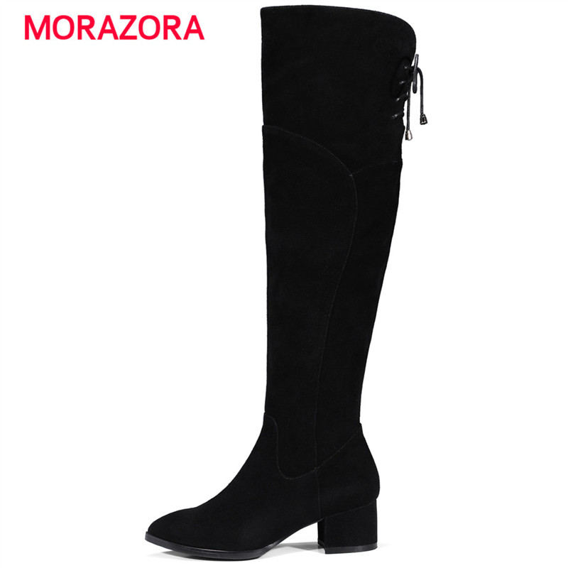 MORAZORA 2018 new autumn winter high heel women boots pointed toe square heel cow suede leather boots over the knee zipper bootsMORAZORA 2018 new autumn winter high heel women boots pointed toe square heel cow suede leather boots over the knee zipper boots