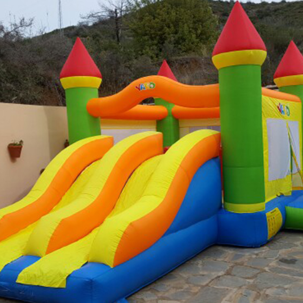 YARD Nylon and PVC Inflatable Bouncer Trampoline Jumping Castle Party Home Used Bounce House Bouncy Castle With Slides for Kids lcl ce285a 85a ce 285 a 285a 3 pack laser toner cartridge compatible for hp laserjet pro m1132 m1210 m1212nf m1214nfh