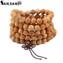 Bijoux religieux bois de santal bouddhiste bouddha 108 perle de prière Bracelet en bois femme hommes méditation Mala Bracelet bijoux 8mm perles
