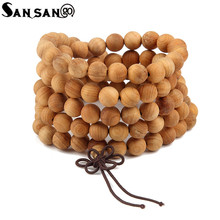 Religious Jewelry Sandalwood Buddhist Buddha 108 Prayer Bead Wooden Bracelet Woman Men Meditation Mala Bangle Jewelry 8mm Beads