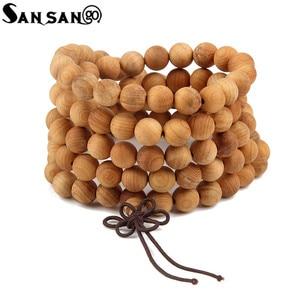 Image 1 - Religious Jewelry Sandalwood Buddhist Buddha 108 Prayer Bead Wooden Bracelet Woman Men Meditation Mala Bangle Jewelry 8mm Beads