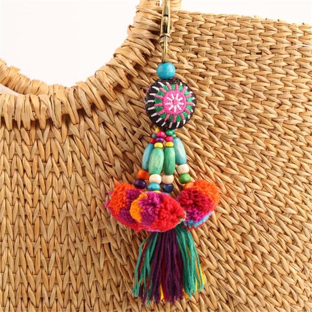 Flower Charm Keychain with Pompom