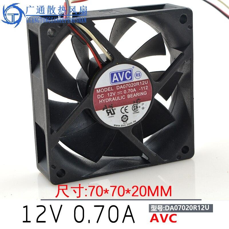 DA07020R12U Server Square Fan DC 12V 0.7A 70x70x20mm 7020 70x70x20mm 7cm cooling fanDA07020R12U Server Square Fan DC 12V 0.7A 70x70x20mm 7020 70x70x20mm 7cm cooling fan