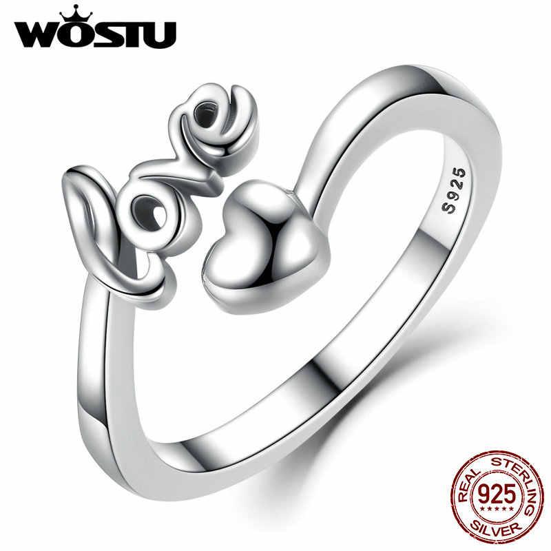 WOSTU حار أصيلة 100% 925 فضة الحب القلب بسيط حجم الحرة قابل للتعديل حلقة مفتوحة للنساء هدية عيد الأم