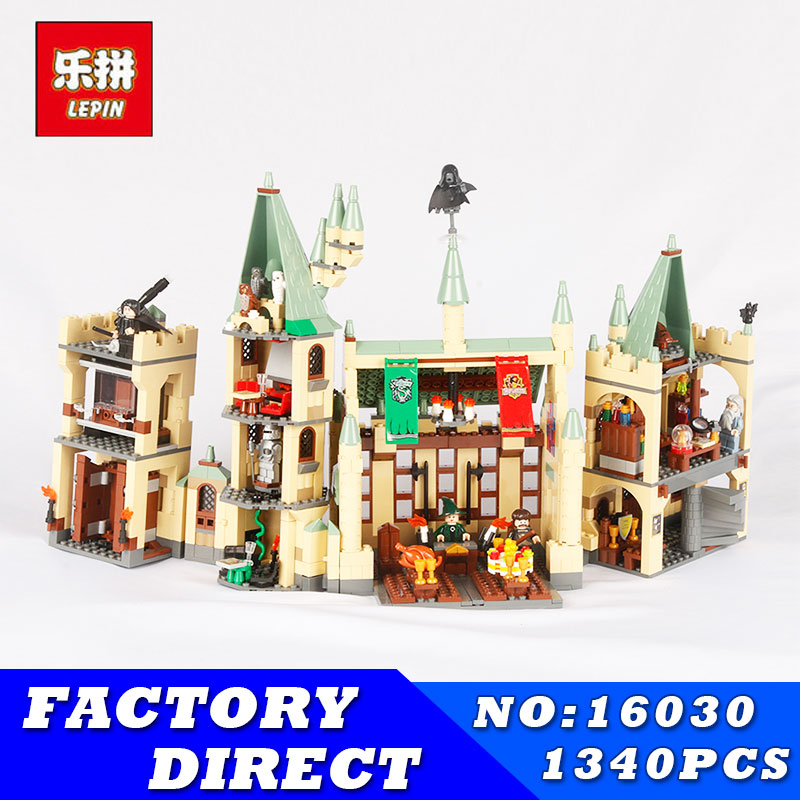 IN STOCK Lepin 16030 Movie Series The Hogwarts Castle Set 1340pcs Building Blocks Bricks Compatible 4842 Educational Toys Gifts lepin 16030 1340pcs movie series hogwarts city model building blocks bricks toys for children pirate caribbean gift