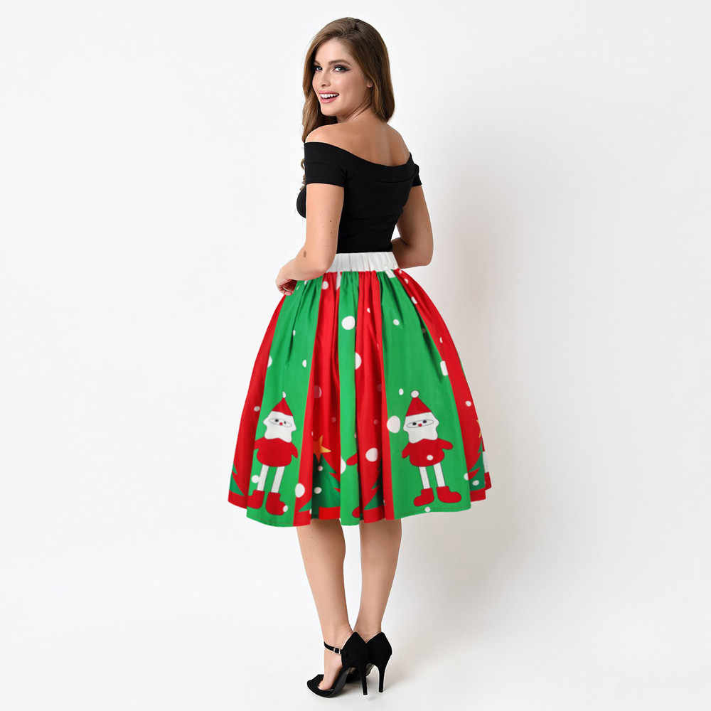 472b1b5af ... 2018 Christmas Santa 3D Printed Skirts Women Red High Waist Mid-length  Pleated Skirt Female ...