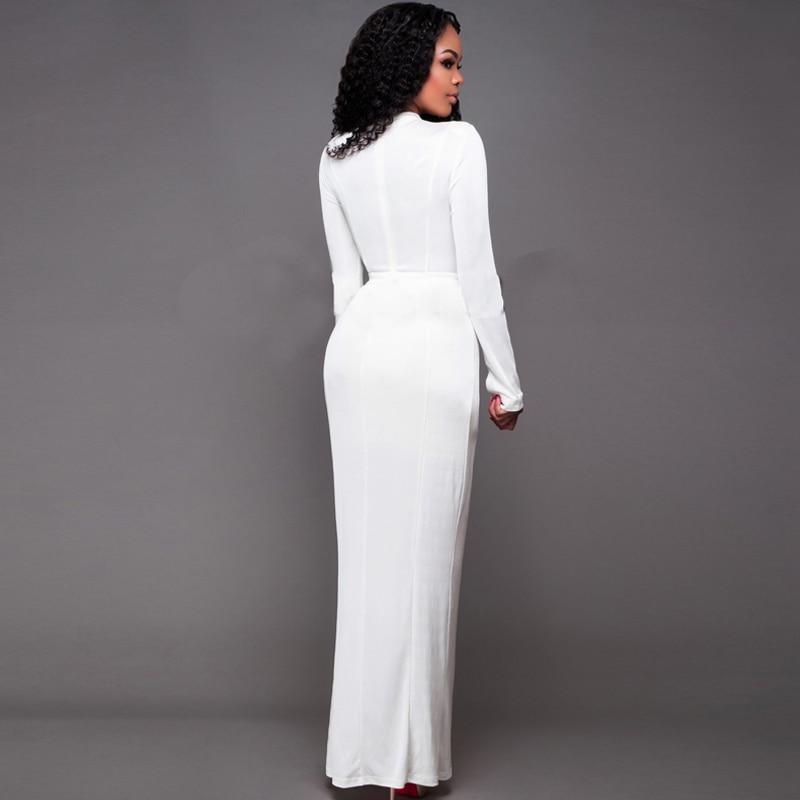 fa4b3b5fadca7 US $28.65 |Dower Me Lace up Front Split White Khaki Ankle Length Dress Long  Sleeve Maxi Elegant Woman Fashion Dresses Vintage Robe -in Dresses from ...