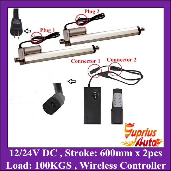 2pcs 12V, 600mm/ 24 inch stroke, 1000N/100KGS/225LBS load linear actuator with unit wireless controller