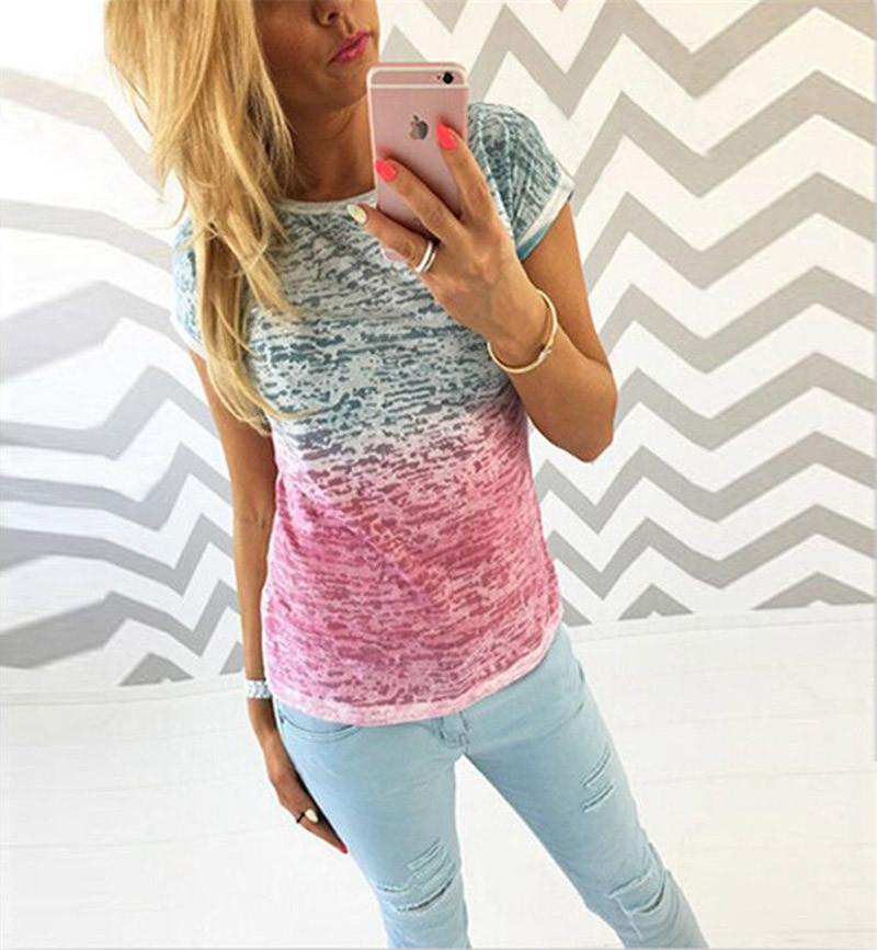 HTB1cK6QKFXXXXXeaXXXq6xXFXXXm - New gradient Simple T Shirt Women's Tees Plain Cotton