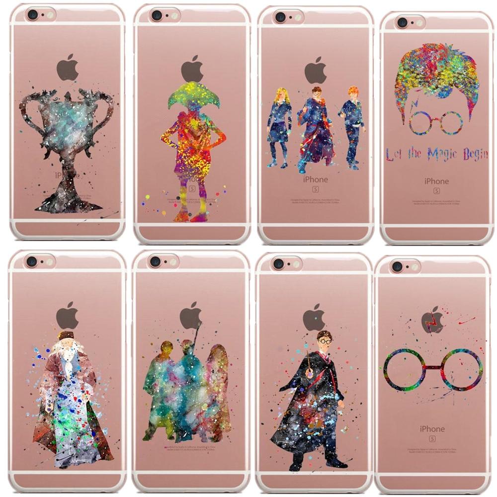 Harry Potter Watercolor Art Hogwarts Castle deer bird magic Soft Clear TPU Phone Case Cover For iPhone SE 5s 6 6s Plus 7 7Plus