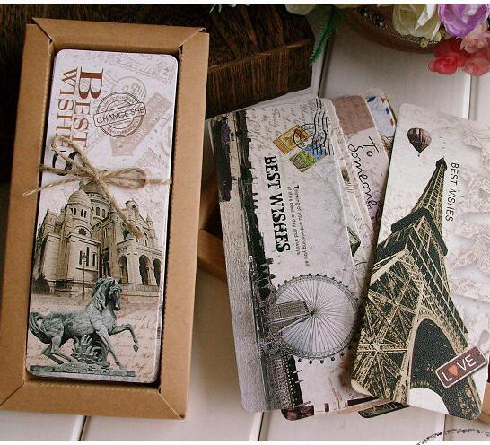 30PCS/lot  Vintage Paris Memory Paper Bookmark Set / Paper Book Holder / Message Card / Kraft Package