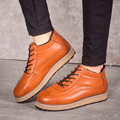 Men Shoes 2016 Top Fashion New Winter Front Lace-Up Casual Ankle Boots Autumn Brogue Shoes Men Wedge Fur Warm Leather Footwear