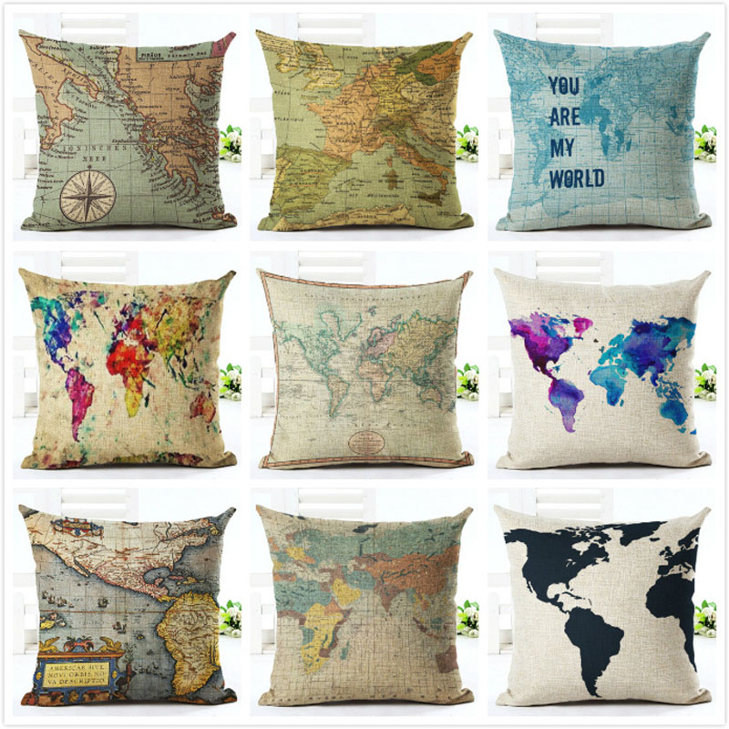 Pillow Case Decorative Anime Fancy Map