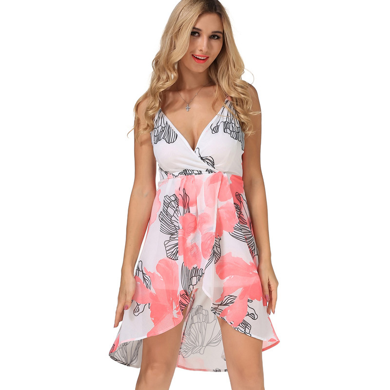 Buy Cheap New Casual Women Maxi Backless Summer Dress Chiffon Print Vestidos V-Neck Womens Clothing Off Shoulder Vintage Summer Dress