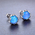 925 Sterling Silver Opal Stud Earrings for Women Charm Jewelry Elegant Blue/White Fire Opal Ear Studs Wedding Earring Ear0586