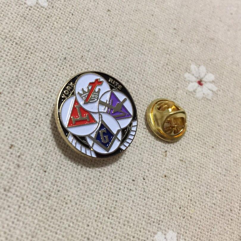 Knights Templar YORK RITE Round Freemason Lapel Pin Badges Masonic Masonry  Metal Crafts Enamel Brooches and Pins