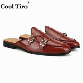 Cool Tiro Brown Patent leather Mules Men Slippers DOUBLE-MONK Slip-On Flats Handmade Men\'s Dress Shoes Male Casual Shoes fashion