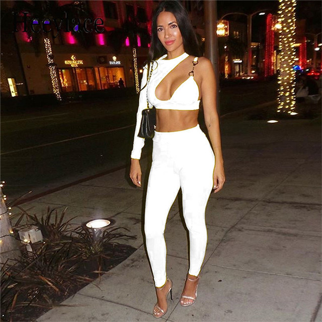 0e92a432bbc Women Long Sleeve One Shoulder Hollow out Crop Top and Pant Bodycon 2 Piece  Club Outfits