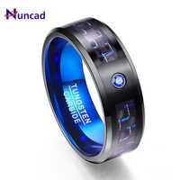 2018 Fibra De Carbono Matagal Azul Zircon Homens Anéis de 100% Faixas de Casamento de Carboneto de Tungstênio Anel Anillos hombres parágrafos