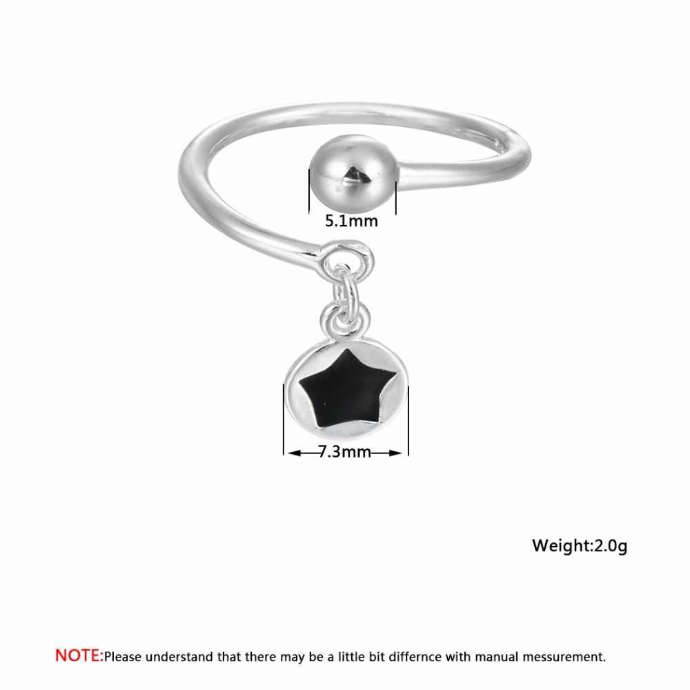 Cxwind модные крошечные черные звезды кулон кольца мяч кольца для женщин ювелирные изделия регулируемый палец кольца рождественские подарки
