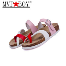 35-44 Lover Sandals 2016 New Fashion Unisex Summer Cork Slippers Casual Women Pu Leather Mixed Color Flip Flops Valentine Shoes