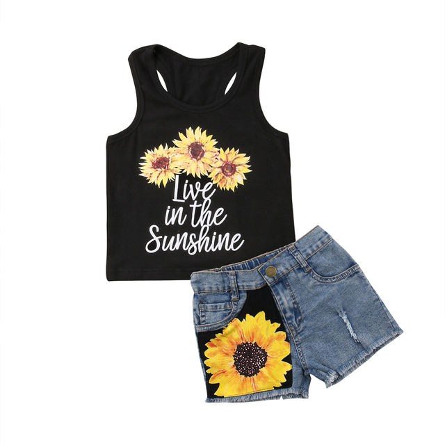 Toddler Kids Baby Girl Clothes Set Summer Sleeveless Vest Tops T shirt Sunflower Shorts Outfit Girls Clothing Cute 2PCs