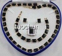 very good women's Wonderful Black Obsidian Gem Inlay Necklace Bracelet Earring Ring Jewelry Set silver wholesale Quartz stone cr
