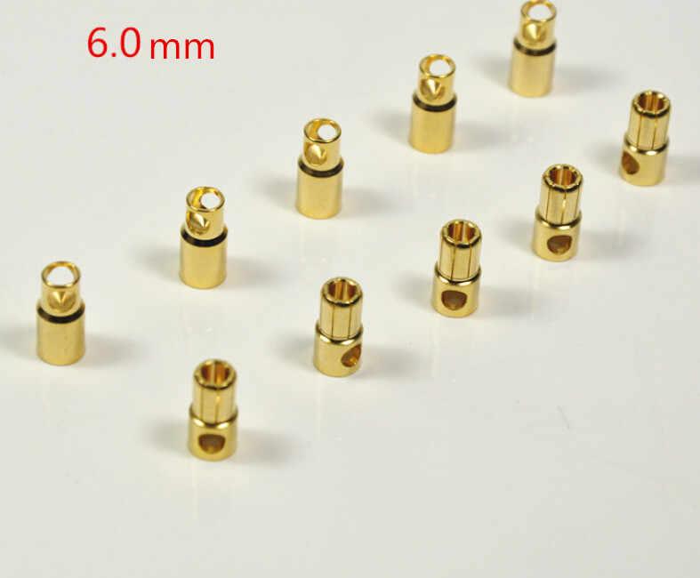 10 пар 2 мм/3 мм/3.5 мм/4 мм/5.5 мм/6 мм золото позолоченный Мужской и Женский Пуля банан Коннектор для ESC Батарея