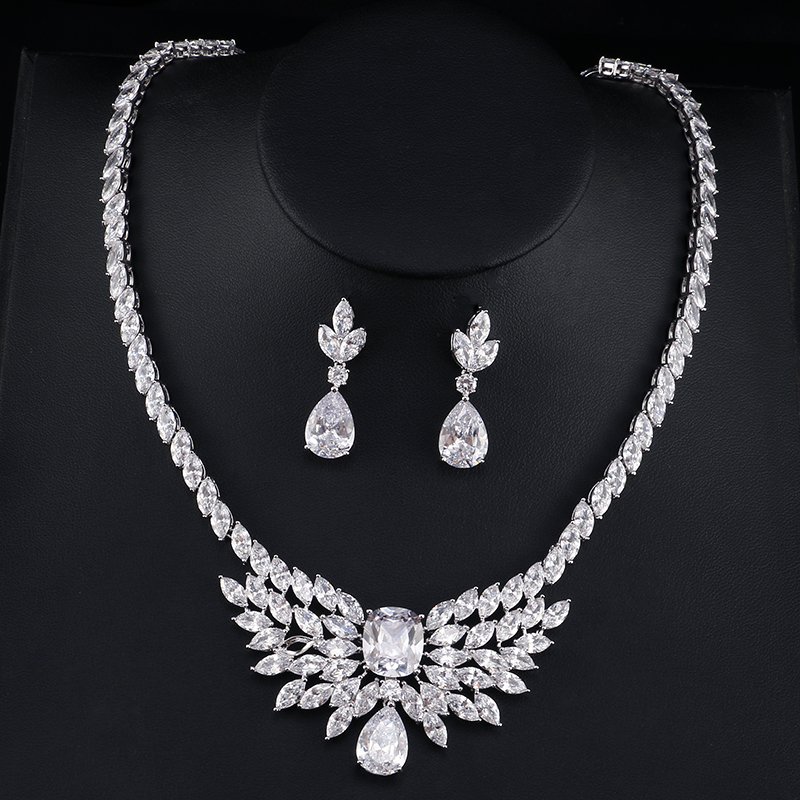 UILZ Bridal Jewelry Marquise Necklace And Earring Set Cubic Zircon wedding Accessories Crystal Jewelry Sets US391 rakol 2018 new wedding costume accessories heart shape cubic zircon crystal bridal earrings and rhinestone necklace jewelry set