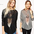 Womens Casual Loose Tops New 2015 Fashion Brand Spring Summer Tees Black Long Sleeve Feather Print Casual Women's Shirt 38
