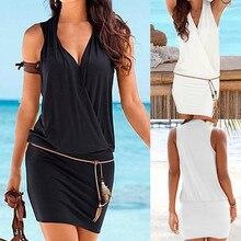 Горячее предложение, новое модное женское Повседневное платье с v-образным вырезом, открытое прямое платье с рукавами, одноцветное пляжное стильное мини платье для женщин W0528