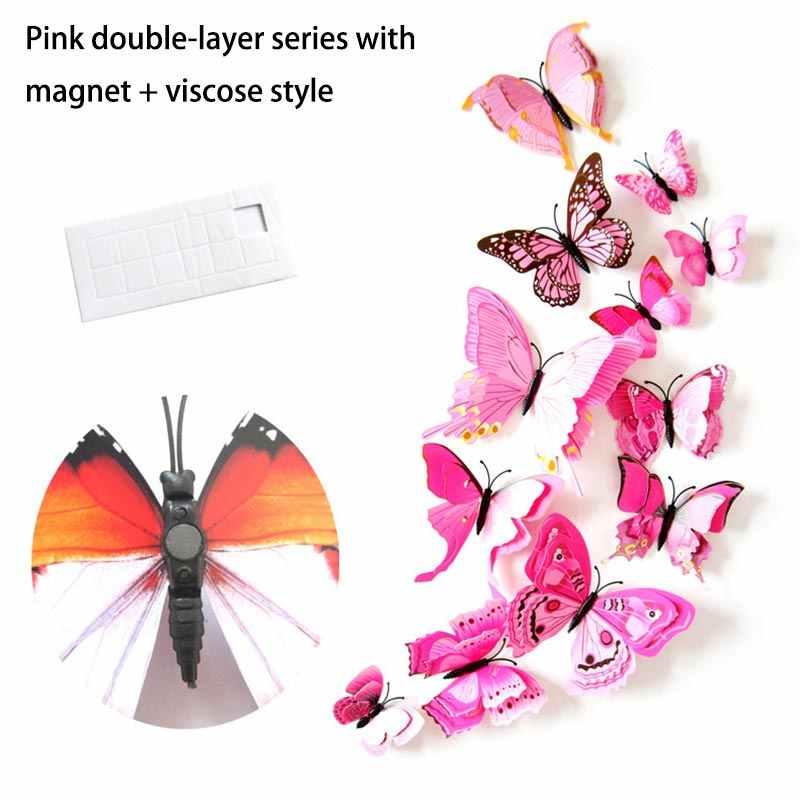 Adesivos de parede de borboleta 3d, decalque de fundo de pvc para janela de natal, adesivo de franja, estúdio de deco