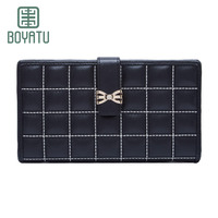 Boyatu Brand Luxury Genuine Leather Messenger Bag 2017 New Long Wallet Classic Plaid Wallet Promotional Style