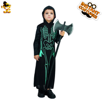 DSPLAY Boy's Green Fluorescence Skeleton Costume Kids Horror Zombie Robe For Halloween Cosplay Party