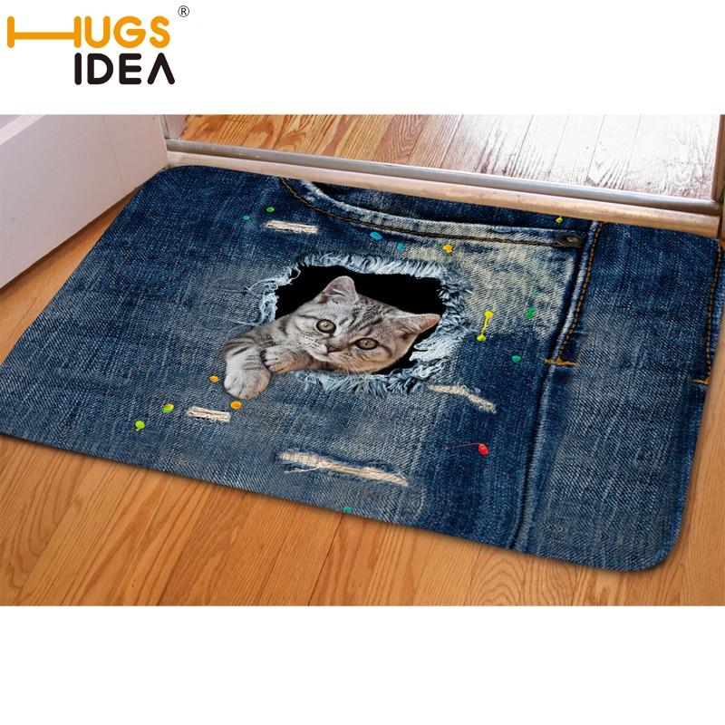 HUGSIDEA 3D 데님 고양이 카펫 미끄럼 재미 입구 현관 블루 부드러운 카펫 및 깔개 침실 거실 Alfombras 드 살롱