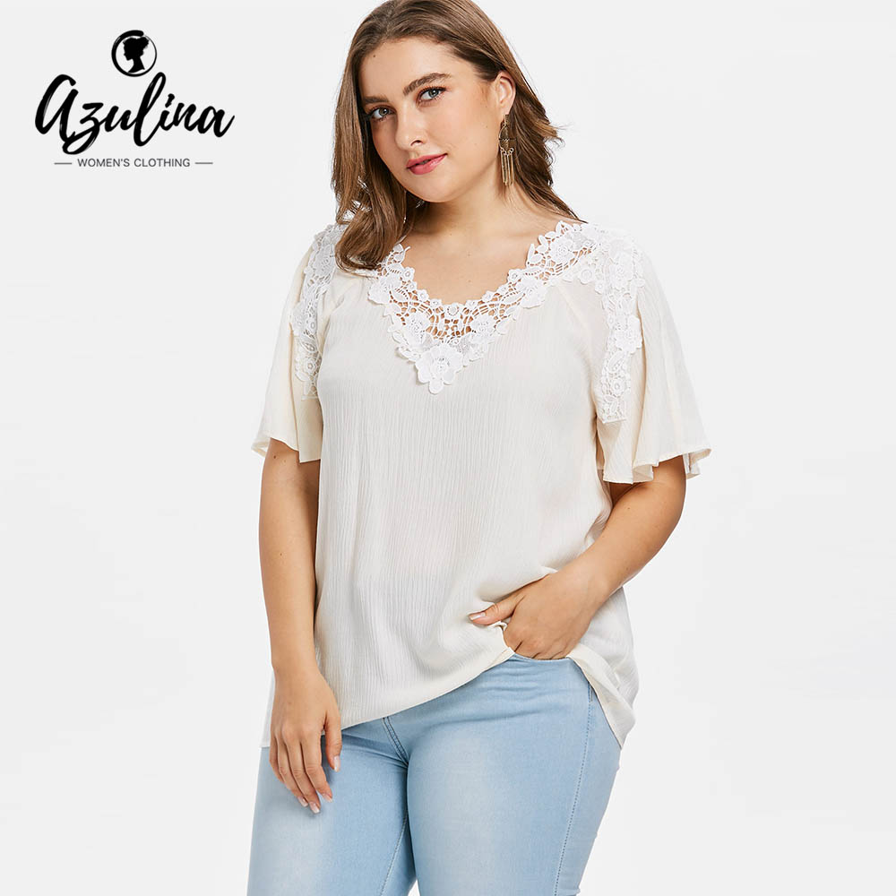 AZULINA Plus Size Hollow Out Floral Lace Blouse Summer V-Neck Half Sleeve Women Blouses Causal Ladies Tops 2018 Big Size Clothes