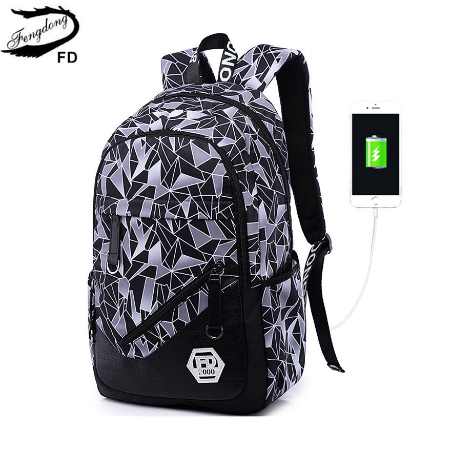 FengDong USB charging 15.6 inch laptop backpack for boy schoolbag men black Backpack male high school backpack boys school bags fengdong male backpack boys school bags black waterproof laptop backpack men travel bags boy student bag bookbag schoolbag