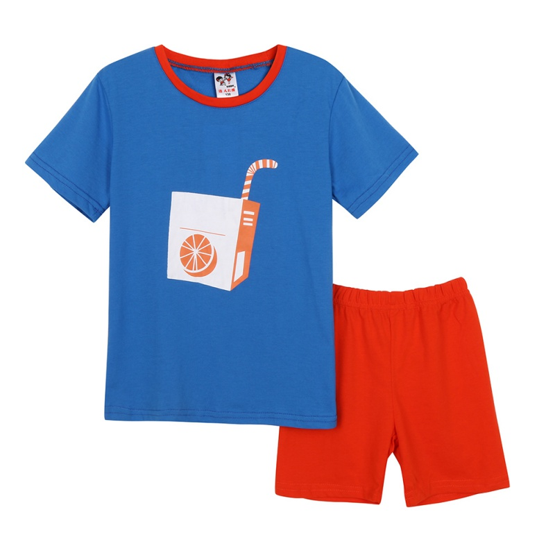 Fashion Childrens Printing patterns Cute Boys and Girls Short-sleeved Shorts Hit Color Suit Childrens Suits ...