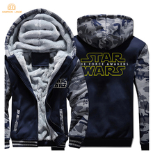 HAMPSON LANQE  Star Wars Zipper Hooded Men 2019 Winter Warm Fleece High Quality Sweatshirts Mens Jacket Casual Hoodie Coat