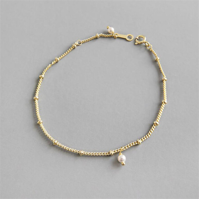 Femininity Trend Sterling Silver S925 Bracelets Gift Gold Color Chain Beads Pearl Bracelet For Women Fashion Jewelry Statement