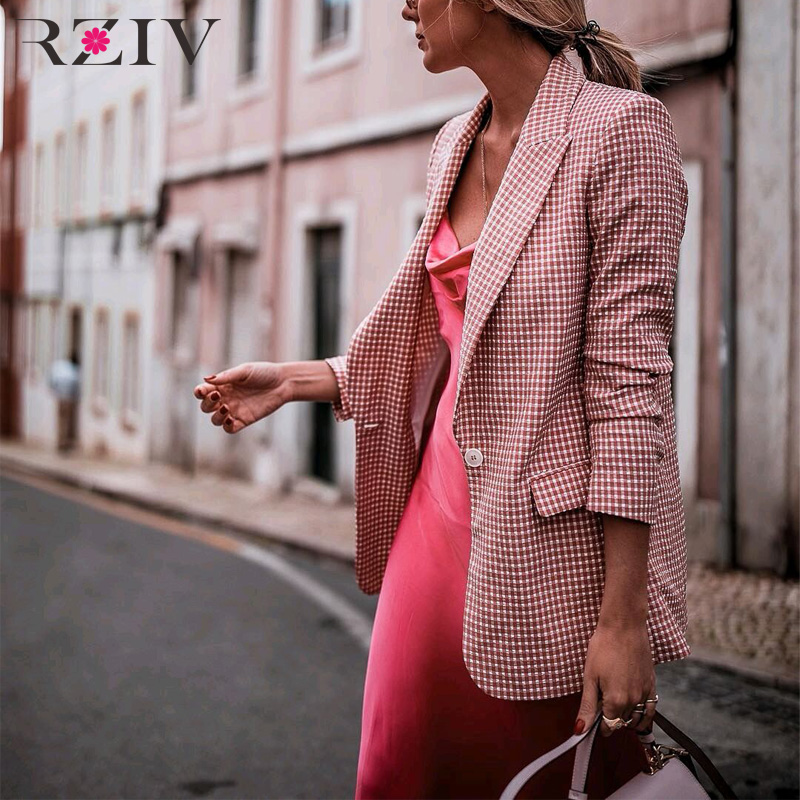 RZIV Autumn Women's Blazer Coat Pink Color Single Button Suit Plaid Casual Blazer Jacket