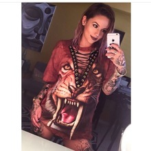 Sexy Fashion Lace Up T Shirts Women Short Sleeve Halloween Tshirt Tops Tee 3D Printed Tiger Panther T-shirt Camisetas Mujer