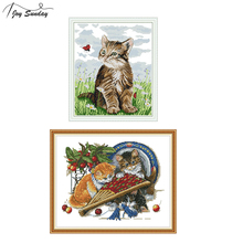 Joy Sunday DMC Cross Stitch Kits Sale Cat and Ladybird Patterns Printed on Canvas Aida Fabric Embroidery Kit DIY Hand Needlework