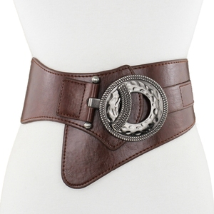 Image 5 - Lady Leather Waistband Womens Genuine Leather Belt Skirt Trim Fur Coat Down Jacket Belt Black Elastic Wide Waistband B 8403