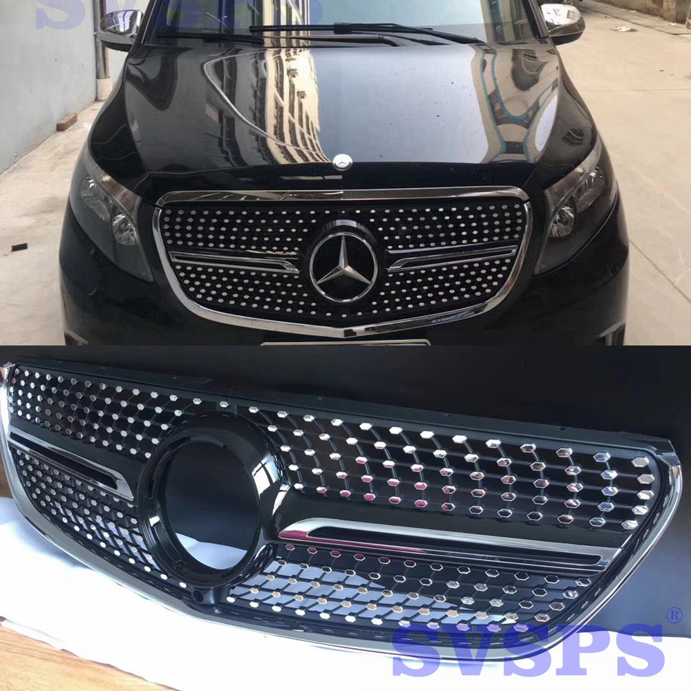 High Quality Diamonds Star chrome ABS Front Middle Grille For Mercedes Benz V-Class Vehicle W447 2014-2018 year exterior 5pcs abs chromed front center radiator grille mouldings for mercedes vito 2014 2017 w447