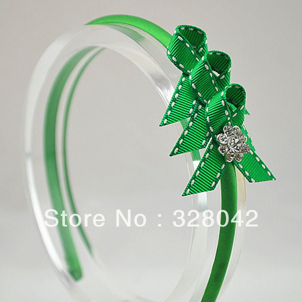 Trail order Christmas tree baby girl Grosgrain Ribbon bow Sparkling Rhinestone button centre hairband hair accessory 24pcs/lot