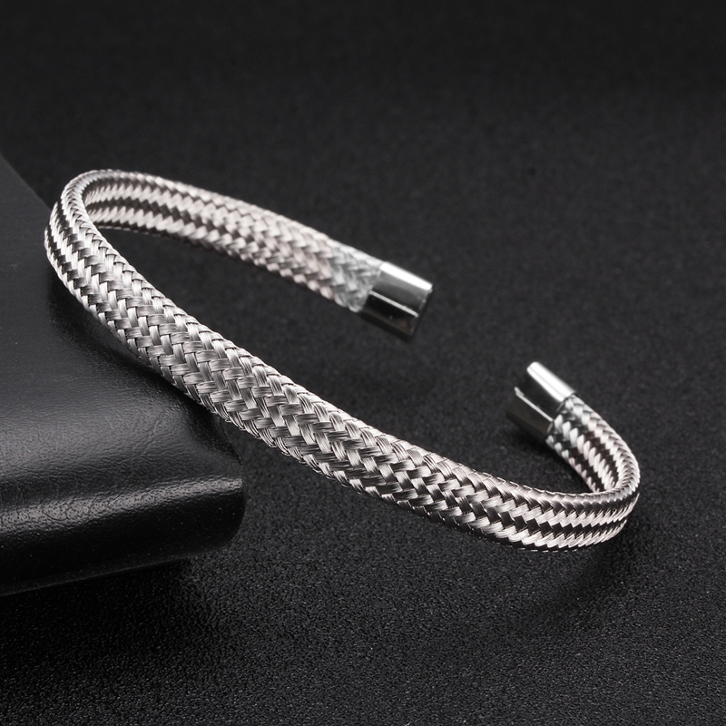 Luxury Silver Snake Sporty Men Women Charm Bracelet Bangles Punk Mesh Surface Soft Steel Braided Open Fashion Cuff Bangles in Bangles from Jewelry Accessories