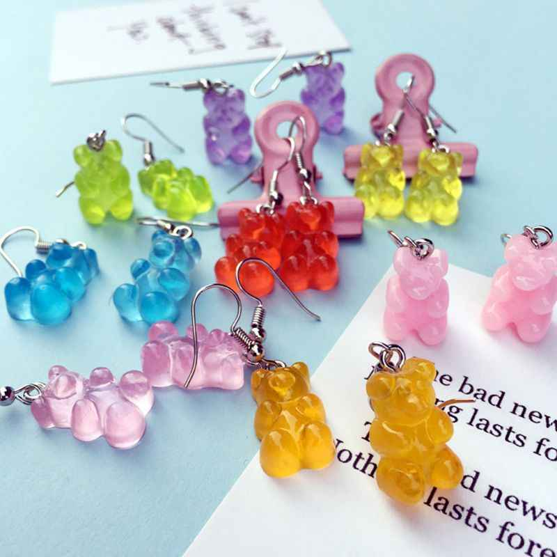 Großhandel 1 Paar Kreative Nette Mini Gummibärchen Ohrringe Minimalismus Cartoon Design Weibliche Ohr Haken Danglers Schmuck Geschenk