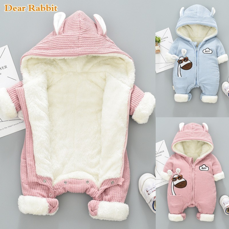 -30 Degree New Winter Overalls For Kids Coat Baby Snow Wear Newborn Snowsuit Boy Warm Down Cotton Girl Clothes Bodysuit 0-18M